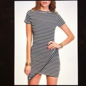 Super Cute Asymmetrical Striped Dress